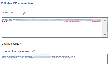 Add user and password to Connection properties