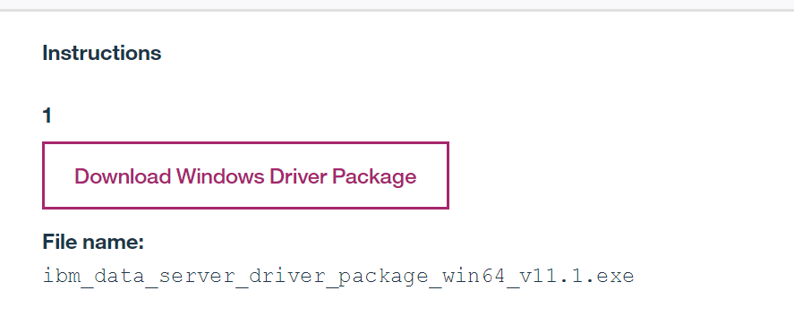 Download the IBM Data Server drivers package
