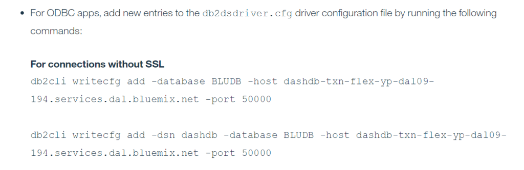 Commands needed to create an ODBC connection
