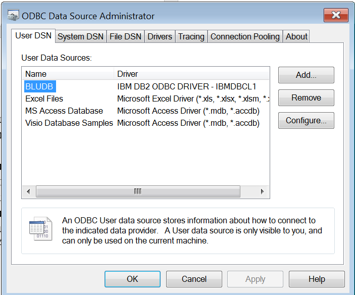 Making an ODBC connection using the ODBC Administrator