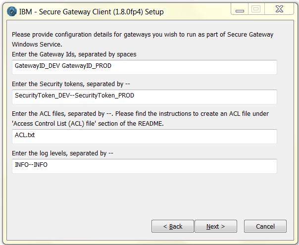 IBM Secure Gateway client setup screen