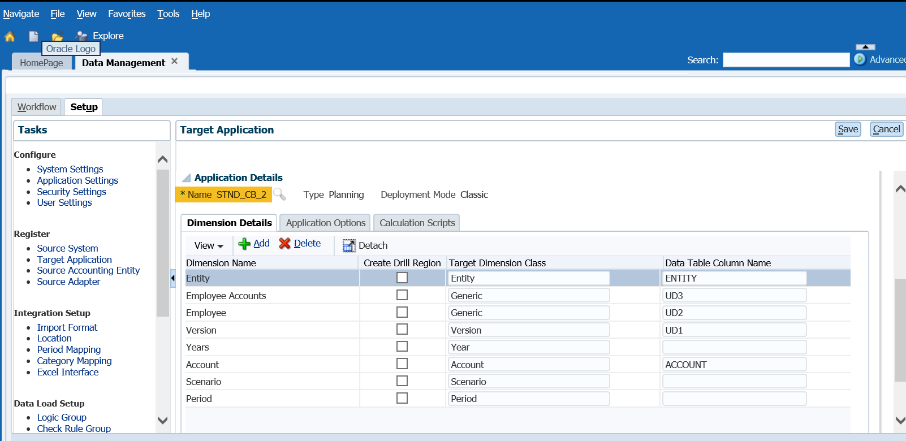 FDMEE target applications - duplicate dimension details