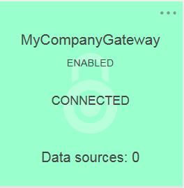 Green Gateway Connected tile on the IBM Planning Analytics control page