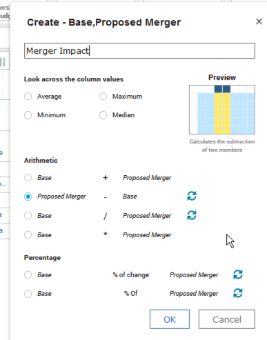 Selecting and adjusting calculations in IBM Planning Analytics