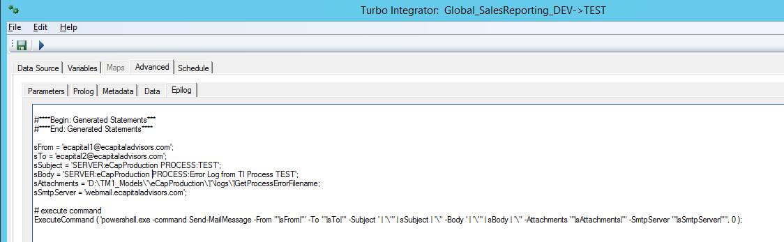 TM1 email notifications = process error
