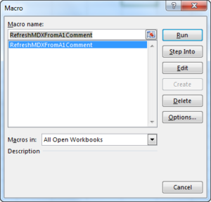 MDX Series Pt 6: Refreshable MDX Using Cell Comments and a Macro