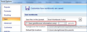 Oracle Smart View Retrieve tips - Turn AutoRecover off
