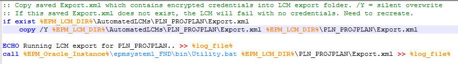running an LCM export via a batch file