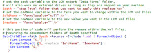 Using a Powershell script in the LCM export