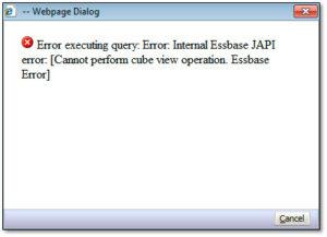 Hyperion Financial Reporting Internal Essbase JAPI error